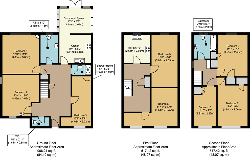 Floorplans - 1 Dollis Drive, Farnham accomodation